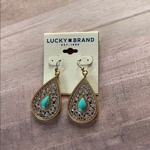 NWT Lucky Brand Etched Turquoise Drop Earrings